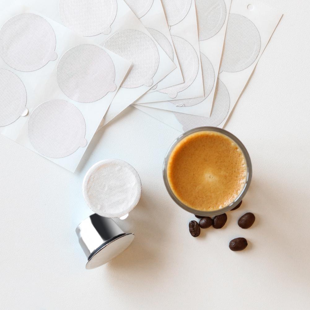 100 Uds taza Cápsula de café desechable papel sellante larga vida útil atmósfera elegante papel de hojalata redondo pegatina
