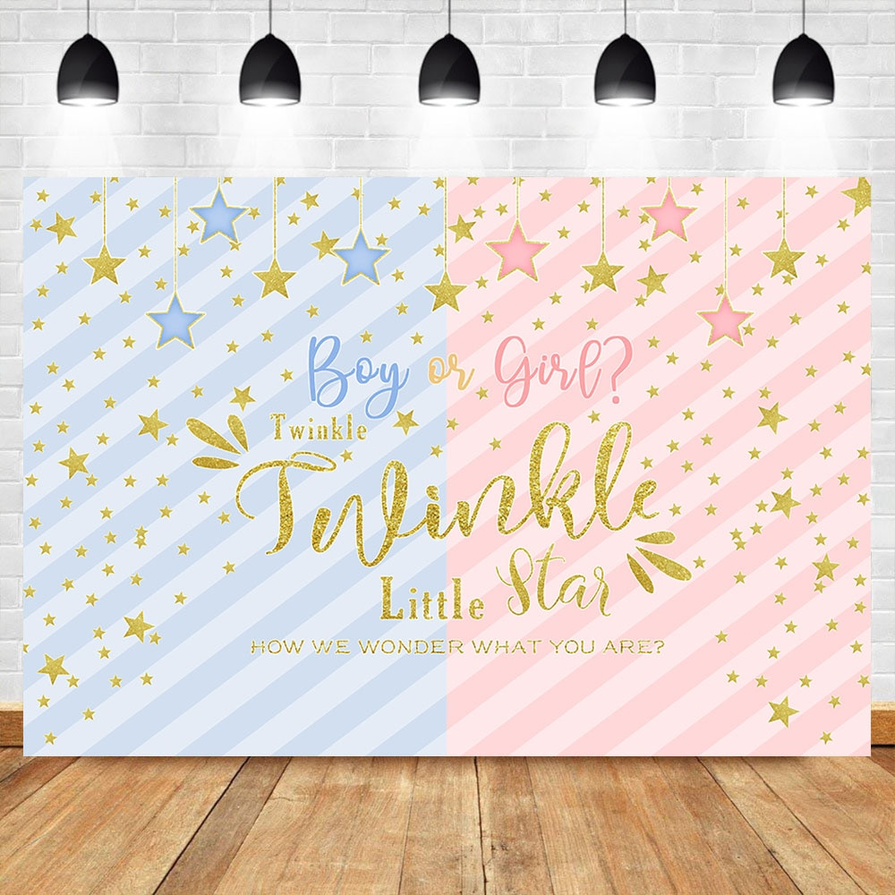 Neoback twinkle estrela pano de fundo gênero revelar festa menino ou menina fotografia fundo dourado estrela do chuveiro do bebê foto backdrops