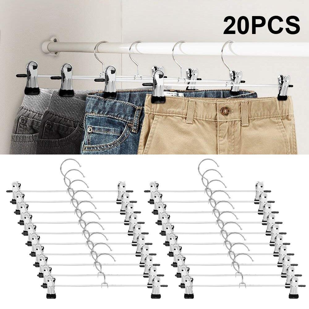 Брюки вешалки юбки вешалки с зажимами 20 пакет металла брюки клип вешалки для экономии пространства, ультра тонкие ржавчины вешалки f