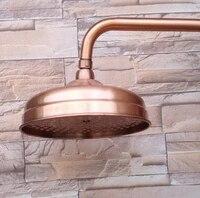Pomme de douche en cuivre rouge antique 8 pouces rond  Standard 1 2    pommeau de bain mural avec tuyau dextension Nsh100 accessoire de salle de bains