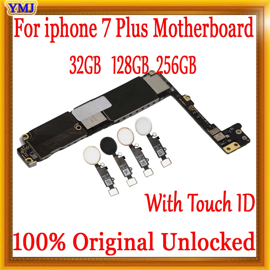 لوحة أم أصلية غير مقفلة لجهاز iphone 7 plus, مزودة بمعرف اللمس/بدون معرف اللمس ، لوحة رئيسية لهاتف iphone 7 P مع رقاقات