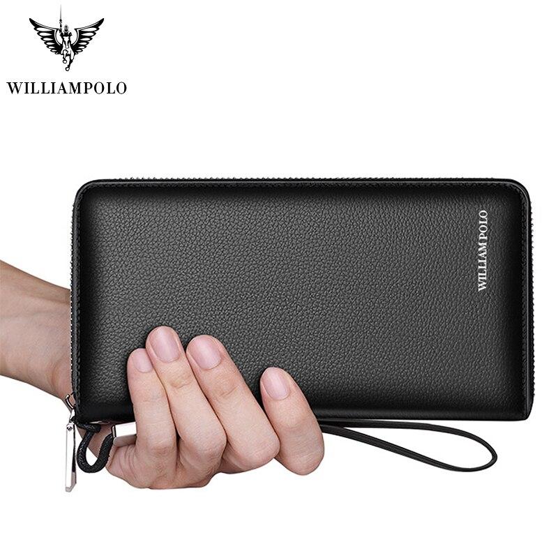 WILLIAMPOLO 財布メンズ革本物の rfid 盗難防止ブラシ手首バンドカードパッケージパスポートカバー財布ファッション 2019