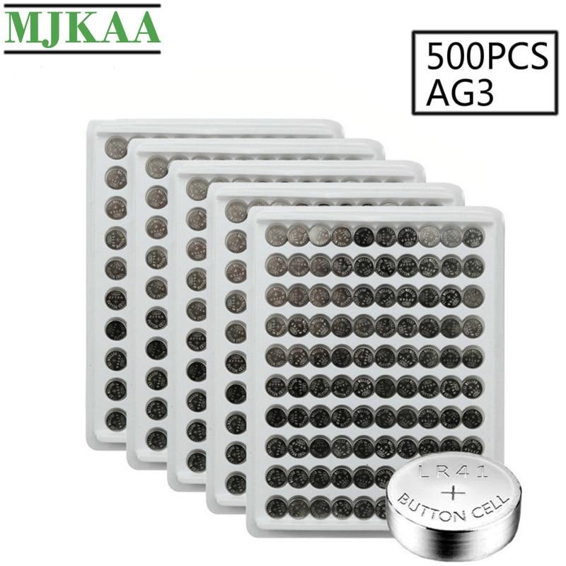 MJKAA 500 Uds AG3 SR41 192 celular batería 1,55 V alcalina L736 384 SR41SW CX41 LR41 392 baterías de botón para relojes de juguete remoto