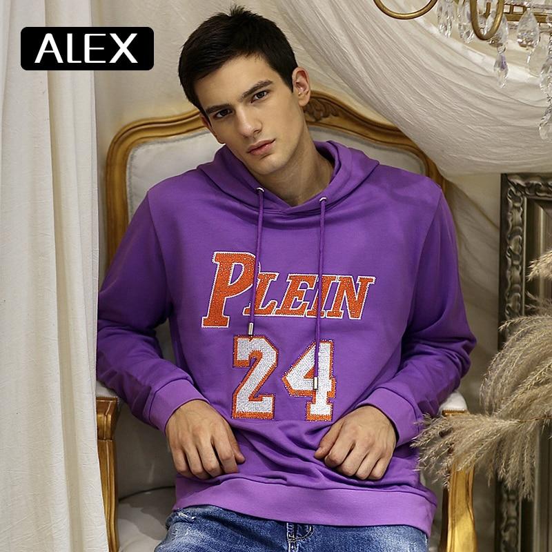 Alex Plein-سويت شيرت بقلنسوة للرجال ، ملابس خروج بأحجار الراين والثعابين ، قطن 100% ، بنفسجي ، ملابس رياضية ، قطعة واحدة عصرية