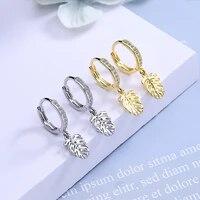 luxury cubic zircon leaf drop earrings for women female fashion korean gold silver color earrings party wedding jewelry gifts