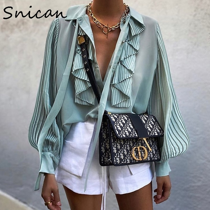 long pleated sleeve cascading ruffle bow tie office ladies blouse chic fashion female tops za 2020 women camisas femininas new