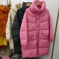 2021 winter new middle and long korean stand collar bread suit white duck down jacket womens small fashion coat