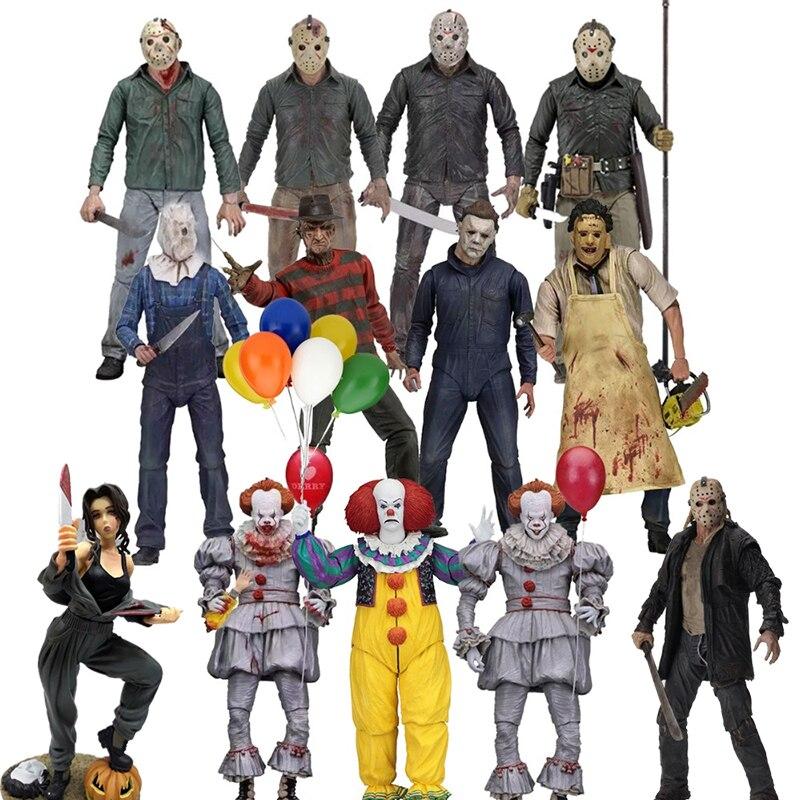 NECA-figuras de acción de viernes 13, figuras de Jason Leatherface, Stephen King, John Michael, Myers, Freddy Krueger, Pennywise, Joker, de PVC