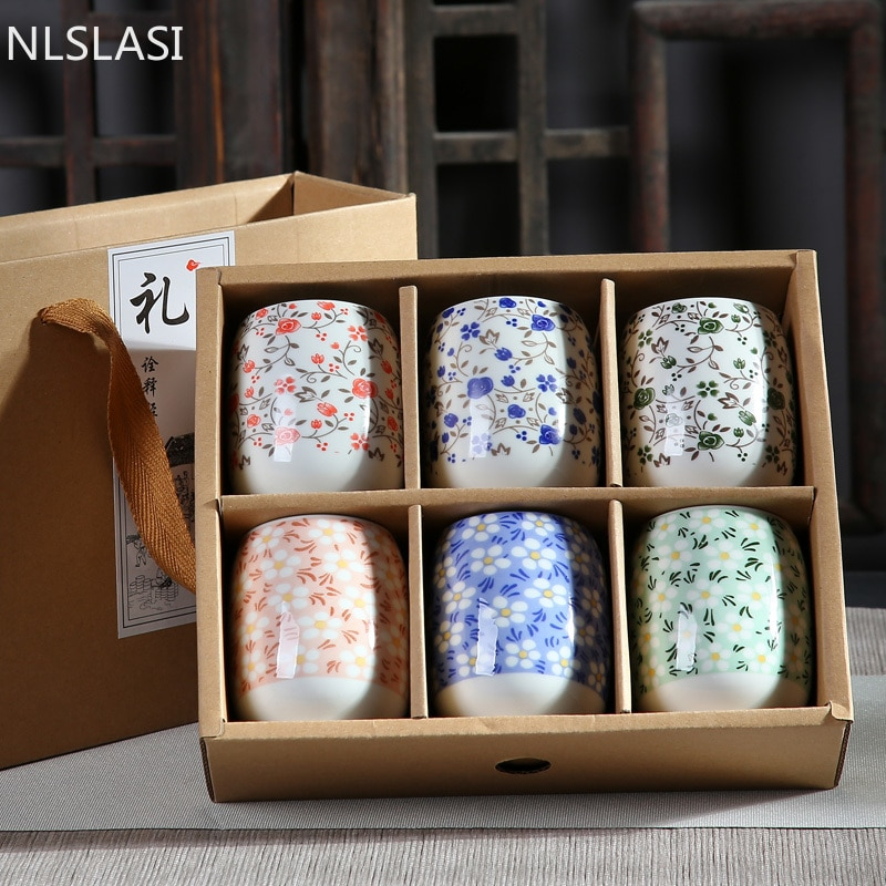 Xícara de Chá Azul e Branco Copo de Vinho Wshyufei Chinês Cerâmica Único Copo Antigo Porcelana Pessoal Mestre 6 Peças