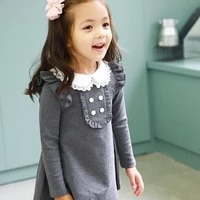 baby girls cotton dress long sleeve fashion princess dresses casual children clothing gray navy blue clothes ages 3 to 12 years