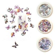 Nieuwe 1 Doos Vlinder Pailletten 3D Nail Art Decoraties Emulational Ontwerp Japanse Stijl Decor Voor Nail Art Accessoires