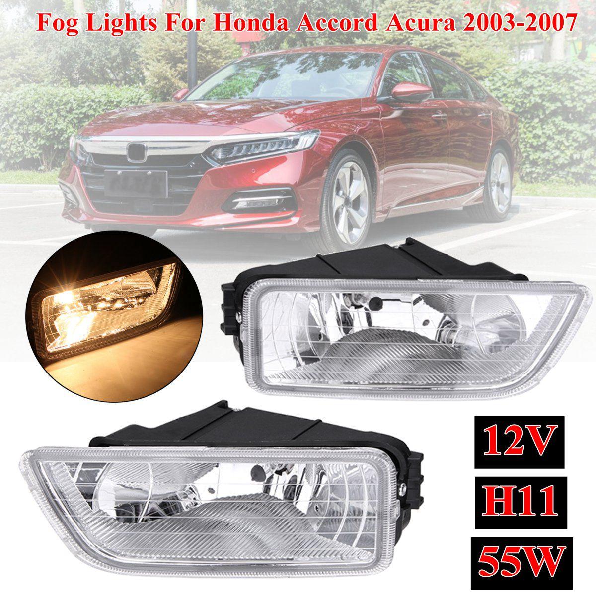 Paire de phares antibrouillard de pare-chocs avant de voiture avec ampoule halogène H11 ambre pour Honda pour Accord 2003-2007 pour Acura TL 2004-2008