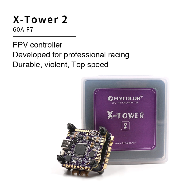 Flycolor X-Tower2 FC F7 Flight Controller ESC 4 In 1 60A 3-6S Blheli-32 Dshot1200 for FPV Racing Drone Quadcopter Free Style