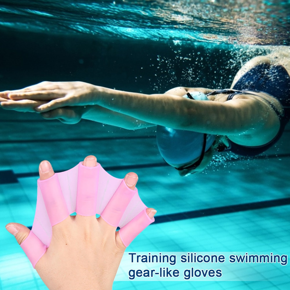 Swim Fins Silicone Hand Paddles Finger Webbed Flippers Training Swim Gear Webbed Gloves Diving Gloves Universal Swimming Tool adults unisex omouboi swimming security pfds black swim paddles hand gloves fins with over head inflatable snorkel rescue vest