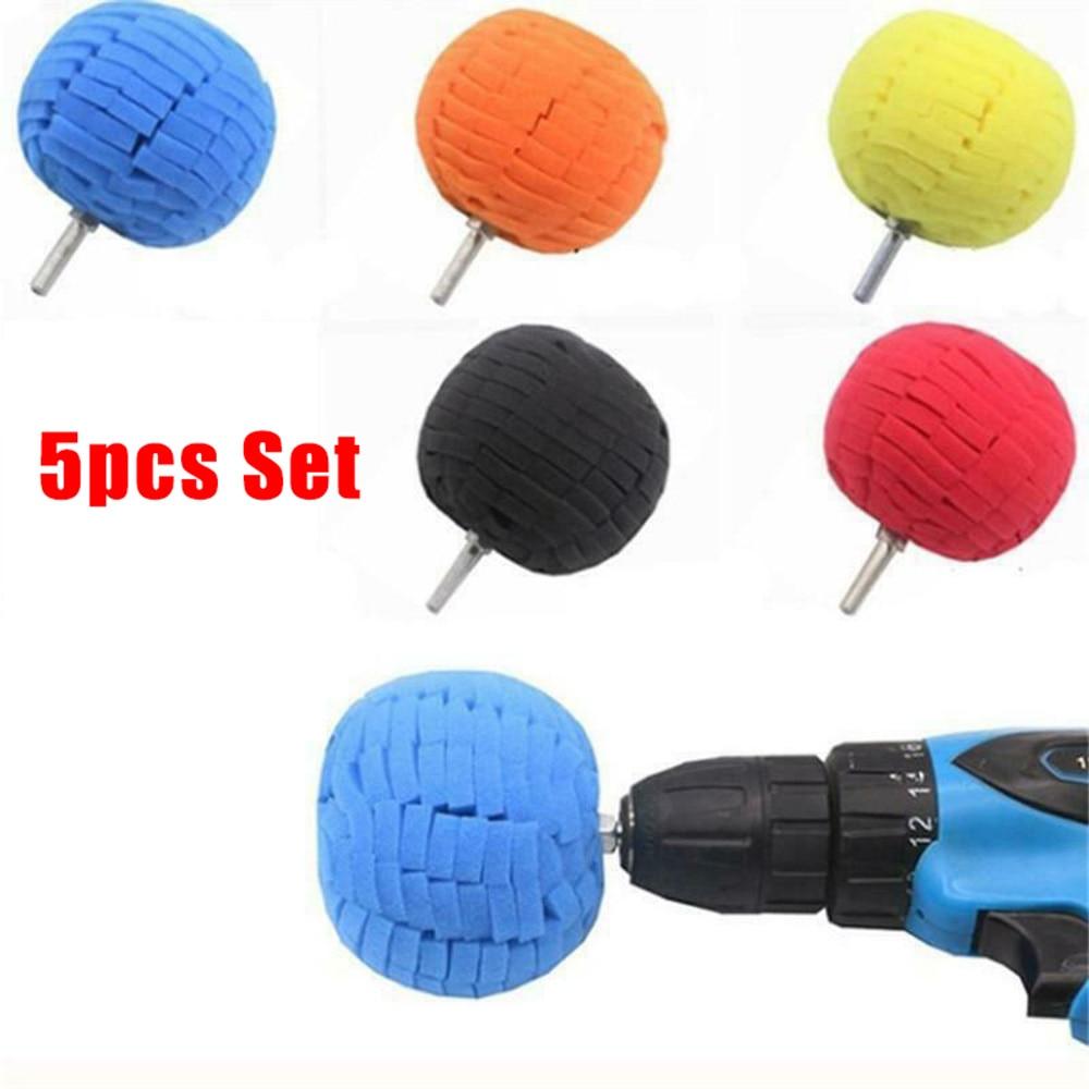 5 uds. Kits de Mantenimiento de coche de limpieza de cubo de rueda de abrillantado para coche esponja para encerar herramienta de bola eléctrica de fijación a perforación