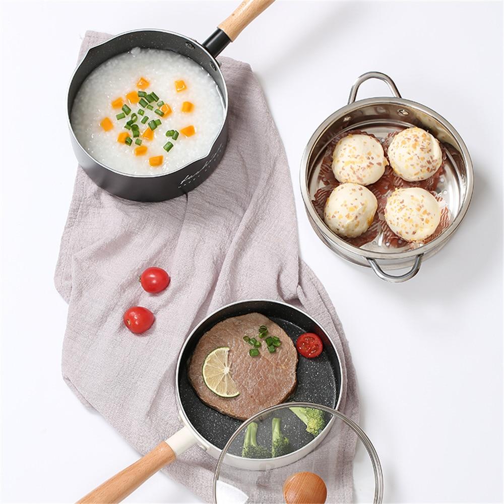 Sartén antiadherente, olla para sopa, sartenes de aleación de aluminio, mango de madera, olla multifuncional para Fideos de leche, utensilios de cocina de base plana para el hogar