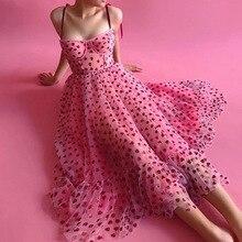 여성 드레스 스퀘어 칼라 하트 스위트 메쉬 비즈 조심스럽게 Dungaree 패치 워크 슬립 드레스