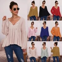 zogaa women elegant lantern sleeve sexy v neck t shirt top spring autumn new solid color casual loose sweet lace up pullovers