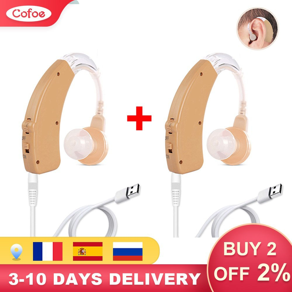 Cofoe Hearing Aid Rechargeable Hearing Aids Mini BTE Invisible USB Ear Aid Sound Amplifier For The E