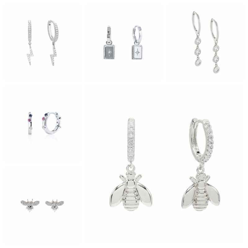 aide-925-пробы-серебряные-серьги-в-виде-колец-для-Для-женщин-кубического-циркония-pendientes-плата-925-Сережка-замок-Мёд-пчелы-lightning-huggie