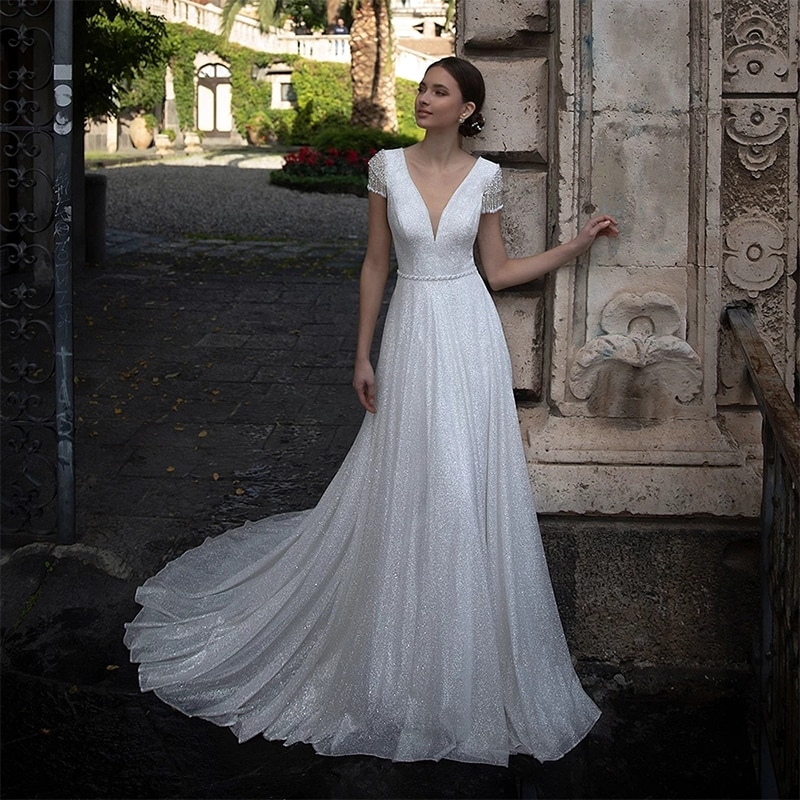 Promo ChuYu 2021 Silver Beading Sequined Tulle Long A-line Wedding Dress Cap Sleeves Glitter Illusion V Neck Vestido De Novia New