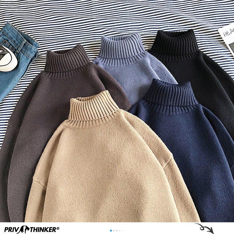 Зимние теплые мужские свитера с высоким воротником, однотонные корейские мужские повседневные трикотажные пуловеры 2020, мужские свитера в с...