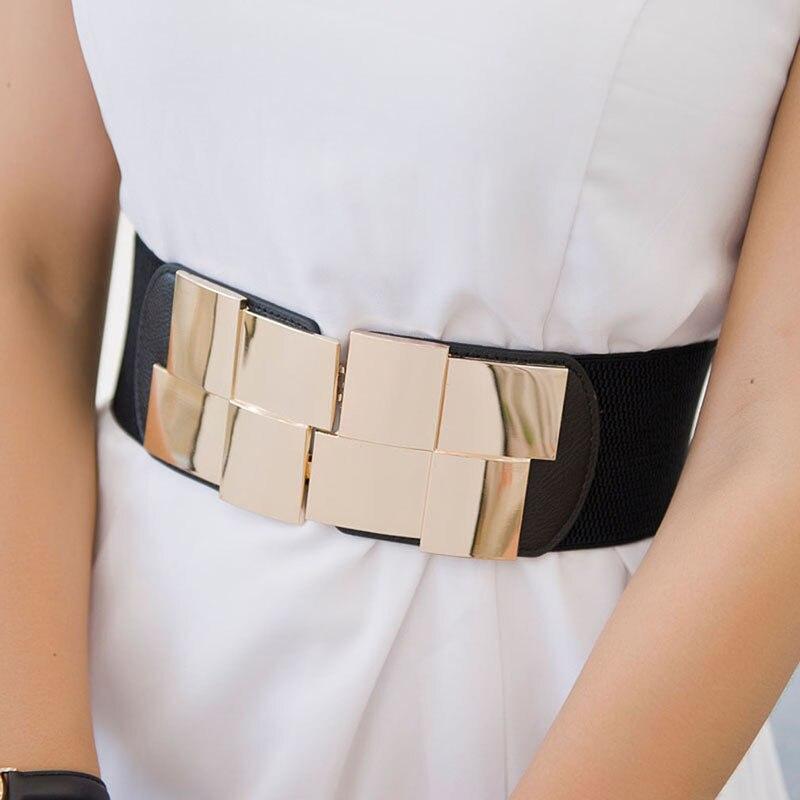 HIgh Quality Female Wide Belt Waistband Multicolor Square Buckle Dress Decorative Belt Women's Slim