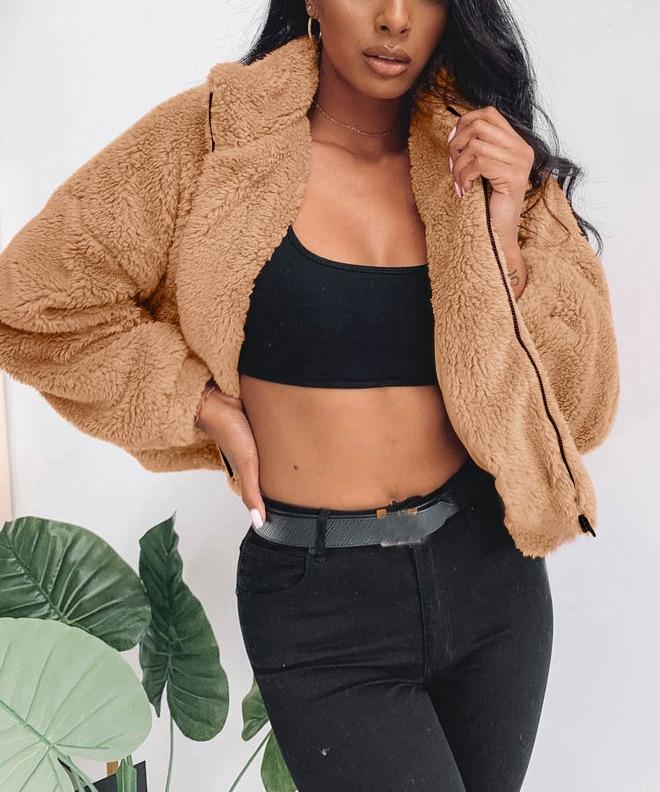 Sfit Coat Women 2020 Autumn Winter Warm Soft Zipper Fur Jacket Female Teddy Coat  Pocket Casual Plush Overcoat Outwear Lady