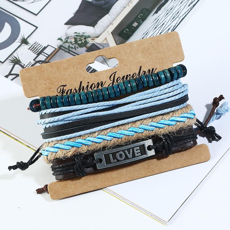 AJC Fashionately woven 4-piece cowhide bracelet set letter brand ocean wind men's jewelry DIY hemp rope bracelet  - buy with discount