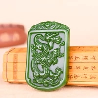 natural chinese green jade dragon pendant necklace hand carved jadeite fashion charm jewelry accessories amulet men women gifts