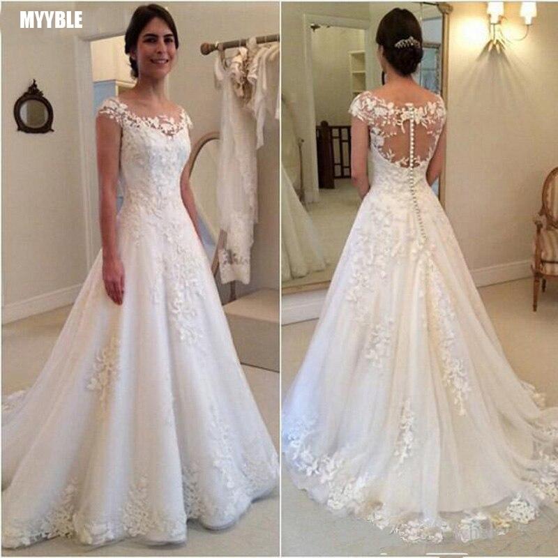 MYYBLE White Vintage Lace Appliques Wedding Dresses 2020 Sheer Back Cap Sleeves Cheap Bridal Dresses vestidos de novia
