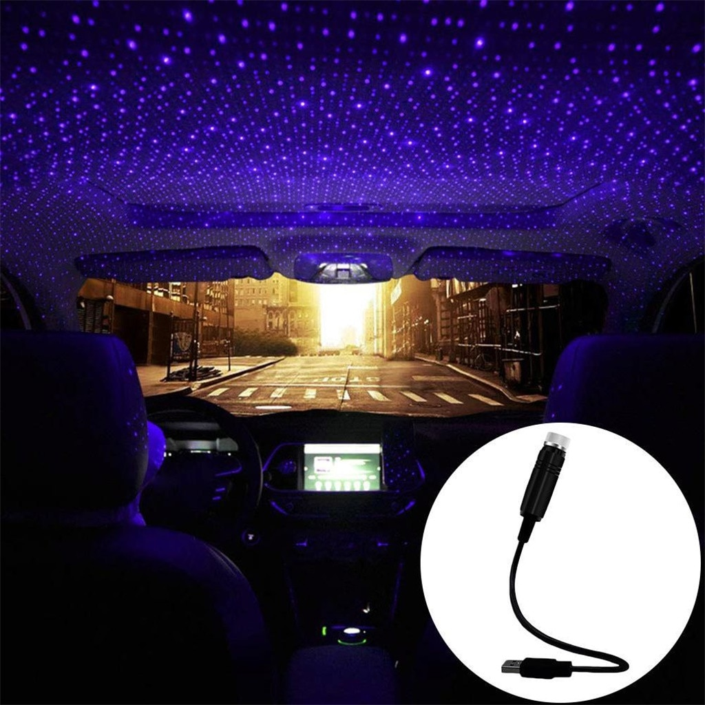 Luz de ambiente de coche, lámpara de decoración de cielo estrellado Usb, lámpara de proyección de techo estrella, láser Usb, luz ambiente de coche Interior de techo # YL1