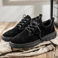 platform leather shoes men casual sneakers breathable suede leather shoes for men fashion lace up spring autumn shoes classic