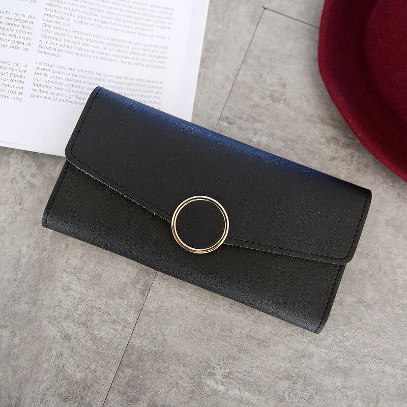Nueva cartera de cuero de moda para mujer, cartera larga de cuero de Pu, cremallera, decoración circular de Metal, cartera con broche para mujer, monedero, Clutch