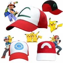 Anime Pokemon Pikachu Cosplay Hoed Pocket Monster Ash Ketchum Demo Hoeden Canvas Baseball Cap Kids Adult Props Verstelbare