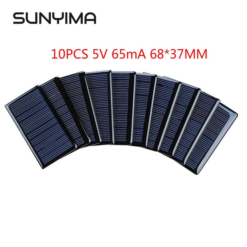 LISM 10 قطعة 5 فولت 65mA الألواح الشمسية الكريستالات 68x37 مللي متر مصغرة Sunpower الخلايا الشمسية لتقوم بها بنفسك لوحة كهروضوئية ل شاحن بطارية