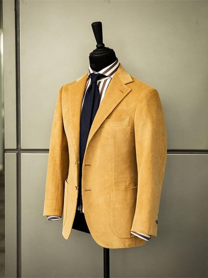 (جاكيت + بنطلون) خريف شتاء سروال قصير أصفر 2 قطعة بدلة العريس لحفلات الزفاف الرسمية للحفلات الراقصة بدلة سهرة مصنوعة حسب الطلب