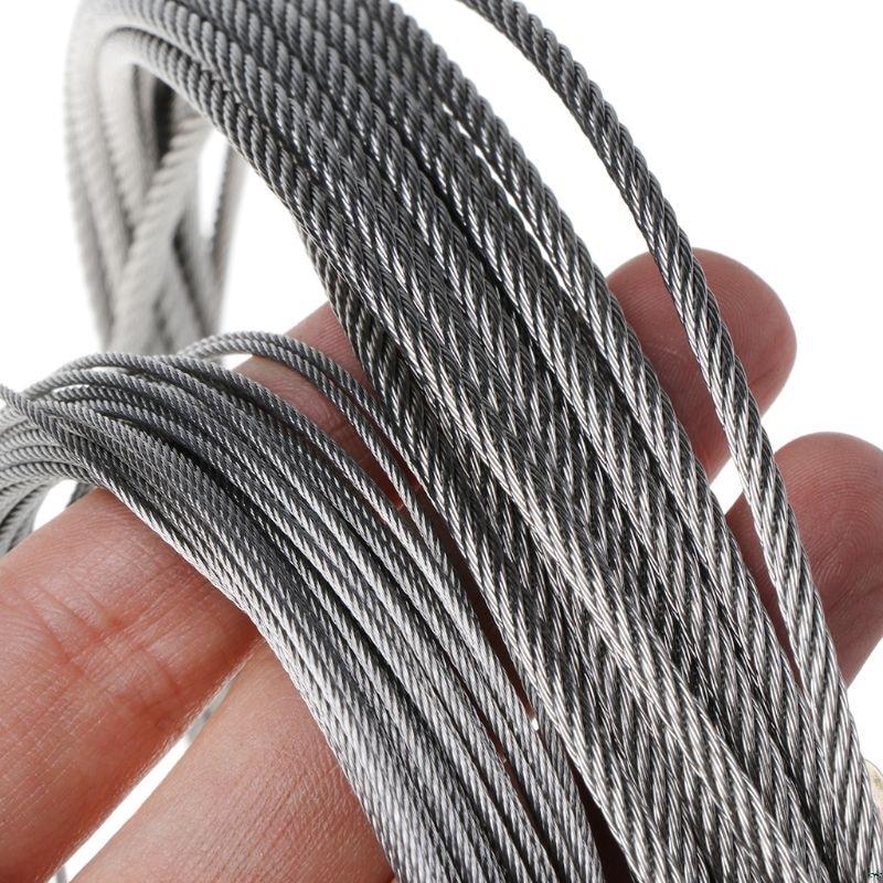 10m 304 Cable de acero inoxidable de pesca Cable de elevación 7*7...