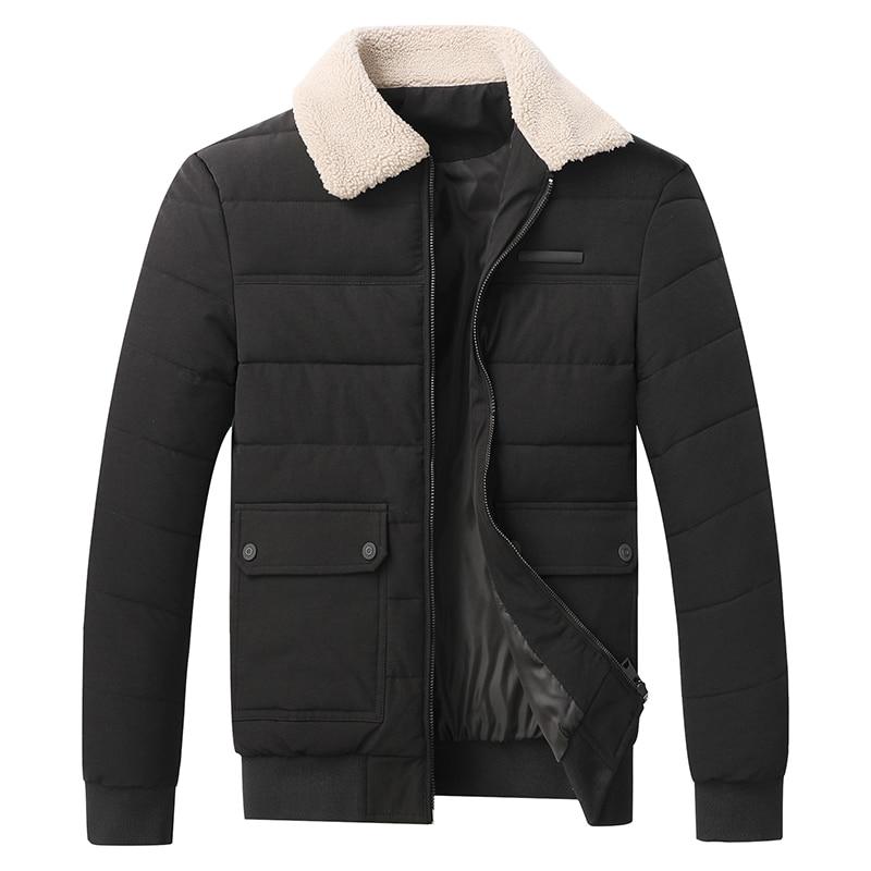 LOMEMOL зимние мужские парки из полиэстера, бархатные парки с лацканами из ягненка, короткая куртка, облегающие парки, Утепленная зимняя куртка...