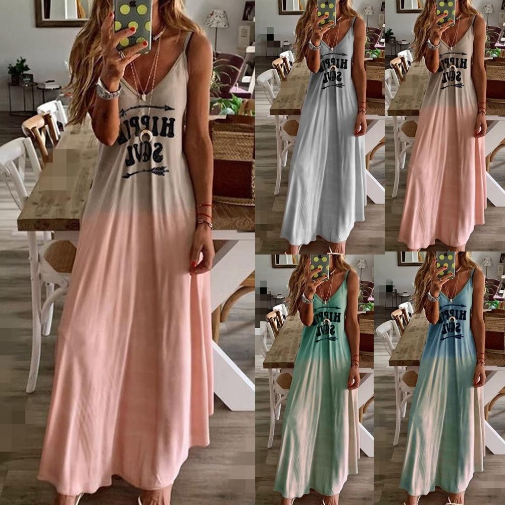 Summer Dress Women Spaghetti Strap Sleeveless Gradient Color Maxi Beach V-Neck Long Robes Party Evening Sundress Plus Size 6XL