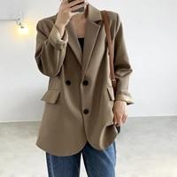 2021new vintage back split solid blazer jacket women double breasted loose blazer spring office ladies long sleeve coat outwear