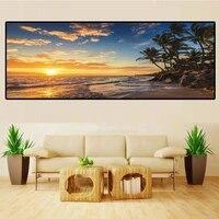 Couchers de soleil naturel mer plage palmier panoramique paysage Art toile peinture affiches imprime mur Art photo pour la maison deco