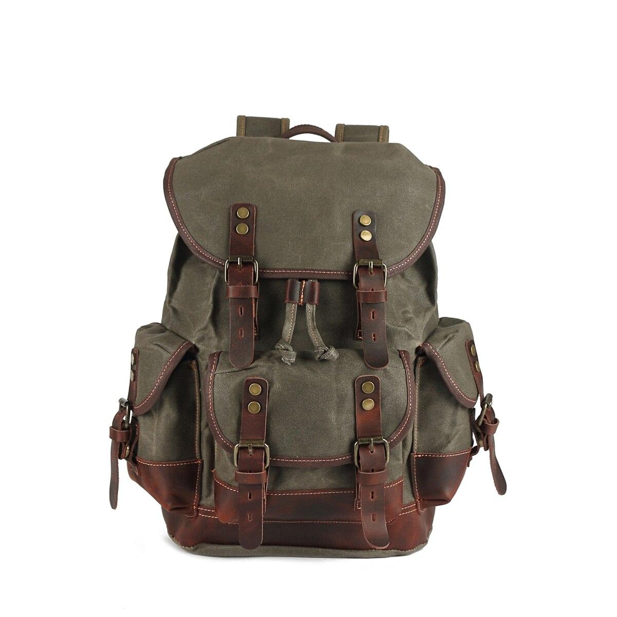 Рюкзак YUPINXUAN мужской для ноутбука 15,6 дюйма, Водонепроницаемый Холщовый кожаный рюкзак, вместительные дорожные сумки