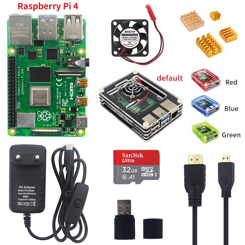 Raspberry Pi 4 Model B Starter kit 1/2/4G RAM 2.4G&5G WiFi Bluetooth 5.0 Micro HDMI Calbe + Acrylic Case + Power Supply for Pi 4