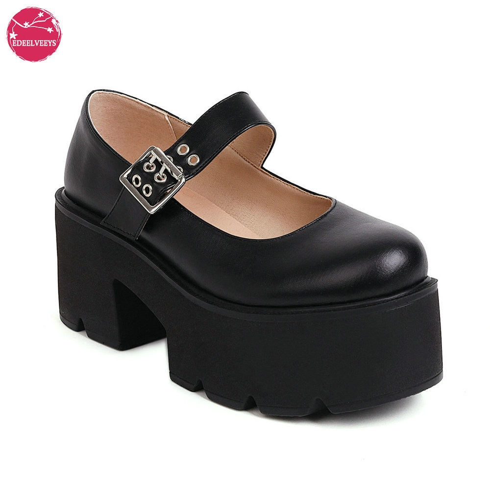 Women's Cute Lolita Cosplay Shoes Platform Gothic Punk Chunky Mary Jane PU Round Toe Oxfords Lightweight with Adjustable Buckle