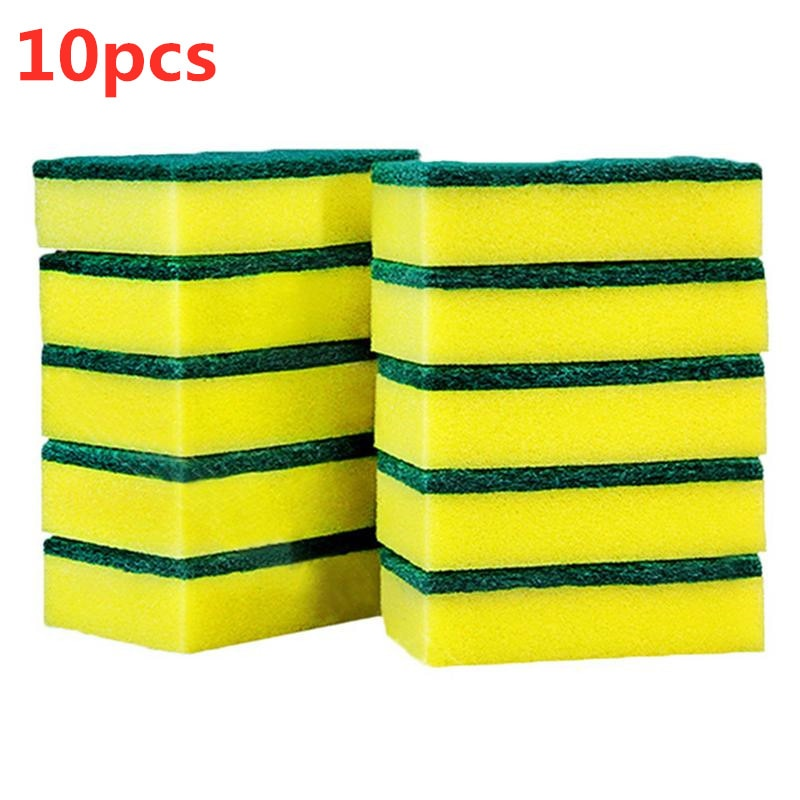 10Pcs Sponge Kitchen Cleaning Tools Washing Towels Wiping Rags Sponge Scouring Pad Microfiber Dish Cleaning Cloth cleaning tool недорого