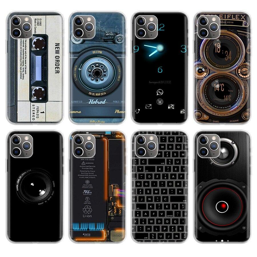 Cámara Retro cintas de Cassette de teclado teléfono caso para Apple iPhone 11 Pro 6S 6 7 8 Plus 10 X XS MAX XR 5 5S teléfono Ca