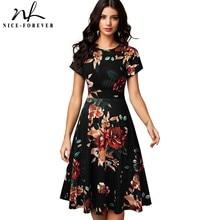 Nice-forever Vintage élégant imprimé fleuri plissé col rond vestidos a-ligne Pinup affaires fête femmes Flare balançoire robe A102