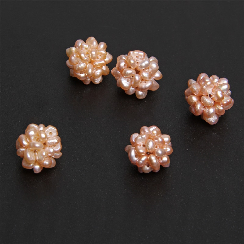 2 uds. Cuentas de perlas de agua dulce naturales Rosas y doradas bola barroca 12-16mm abalorios de perlas para fabricación de joyería DIY pulsera collar
