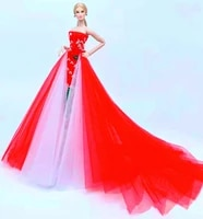 16 bjd clothes fashion off shoulder red wedding dress for barbie doll clothes princess party gown 11 5 dolls accessories toys